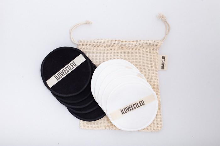 I LOVE ECO - Odličovací tampony – balení 12 tamponů + 1 síťovaný pytlík